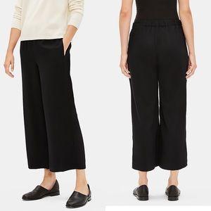 Eileen Fisher Wide Leg Cropped Pants Elastic Waist